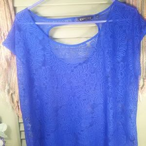 Express sheer lace sleeveless top w/cut-out sz M